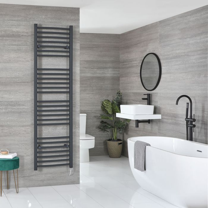 Milano Artle Electric - Anthracite Curved Heated Towel Rail - 1800mm x 500mm