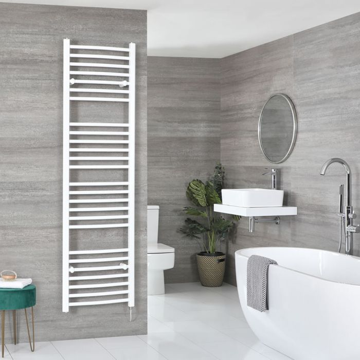 Milano Ive Electric - White Curved Heated Towel Rail - 1800mm x 500mm