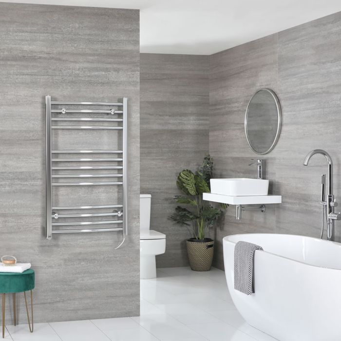 Milano Kent Electric - Chrome Curved Heated Towel Rail - 1000mm x 600mm