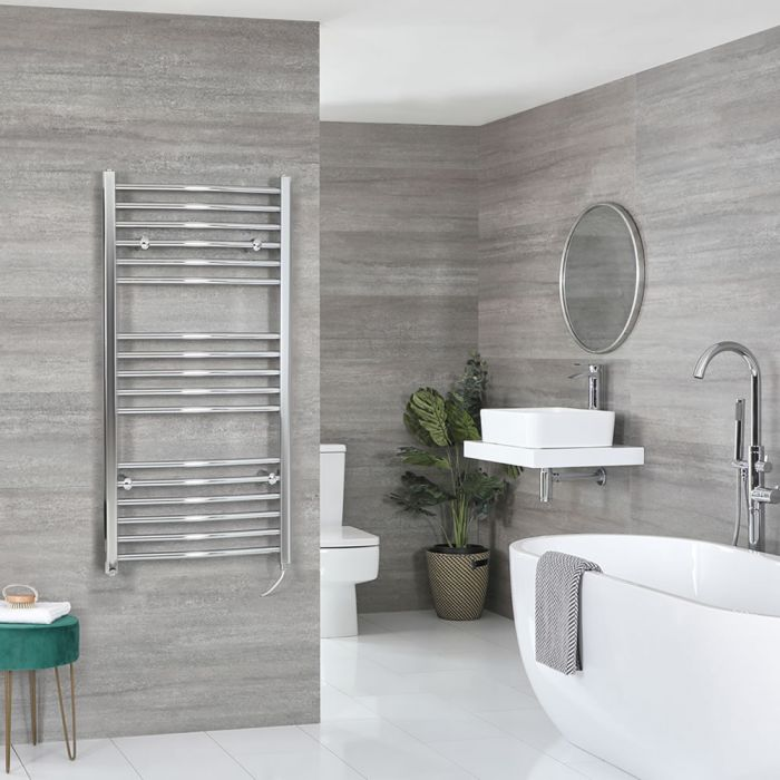 Milano Kent Electric - Chrome Curved Heated Towel Rail - 1200mm x 600mm
