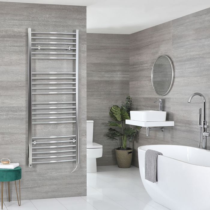 Milano Kent Electric - Chrome Curved Heated Towel Rail - 1600mm x 600mm