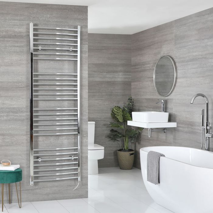 Milano Kent Electric - Chrome Curved Heated Towel Rail - 1800mm x 600mm
