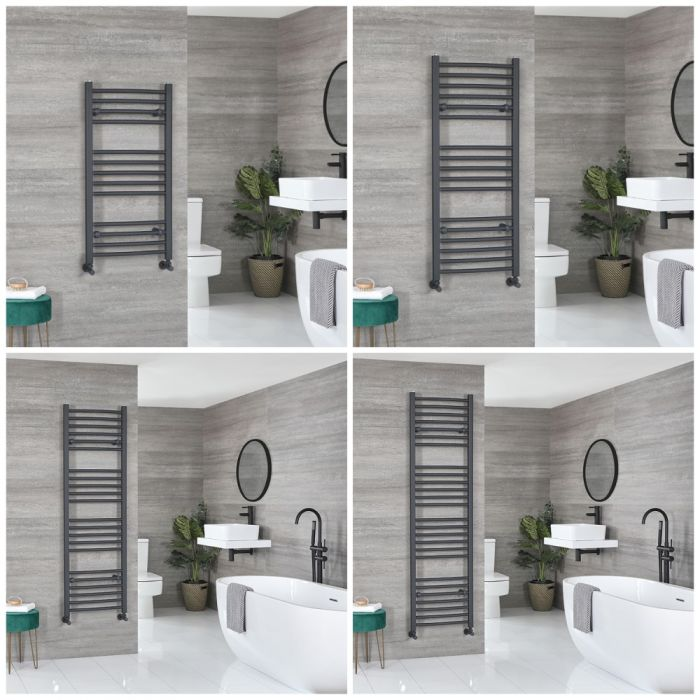 Milano Artle - Anthracite Curved Heated Towel Rail - Choice of Size