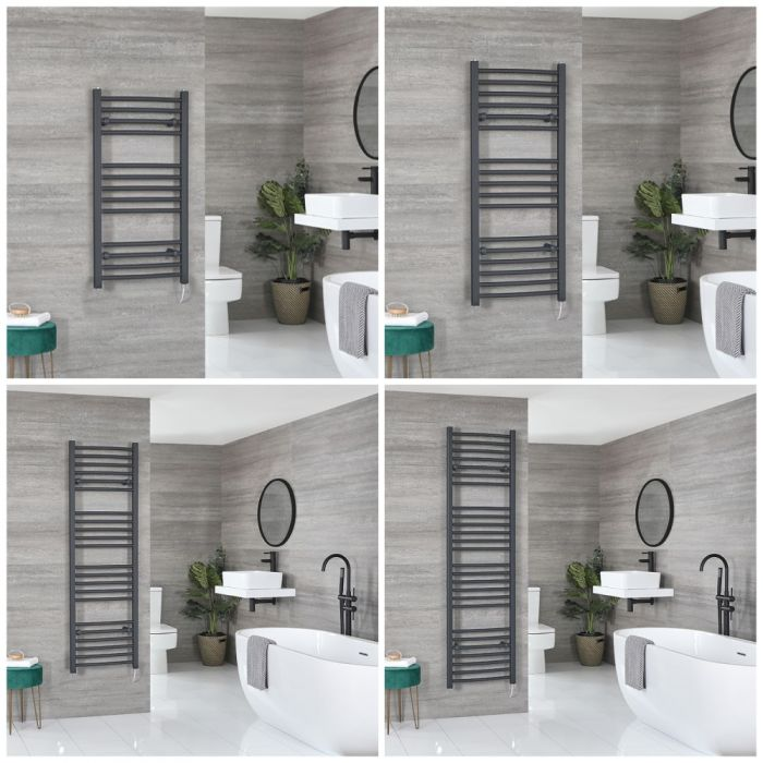 Milano Artle Electric - Anthracite Curved Heated Towel Rail - Choice of Size and Heating Element