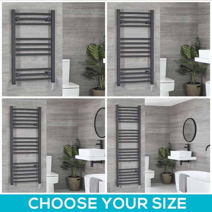 Milano Artle Electric - Anthracite Curved Heated Towel Rail - Choice of Size