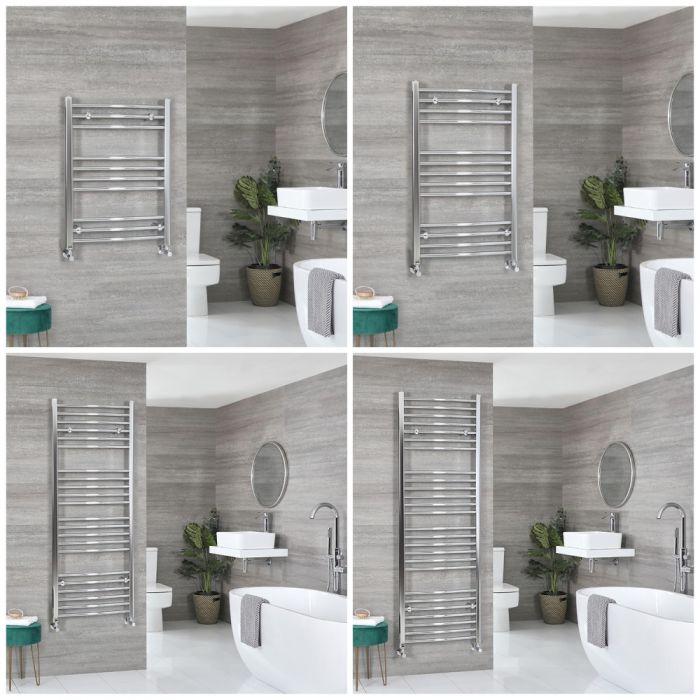 Milano Kent - Chrome Curved Heated Towel Rail - Choice of Size