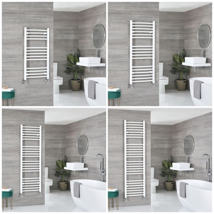 Milano Ive - White Curved Heated Towel Rail - Choice of Size