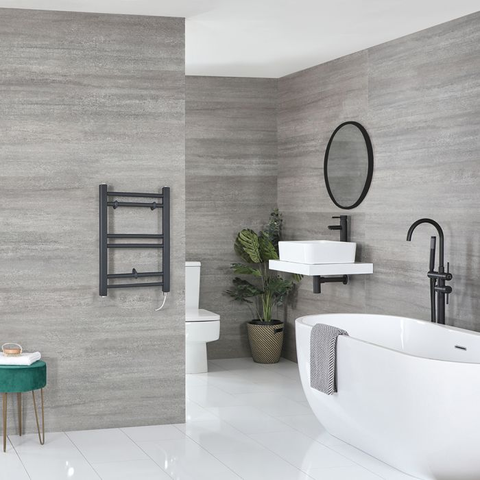 Milano Artle Electric - Anthracite Flat Heated Towel Rail - 600mm x 400mm