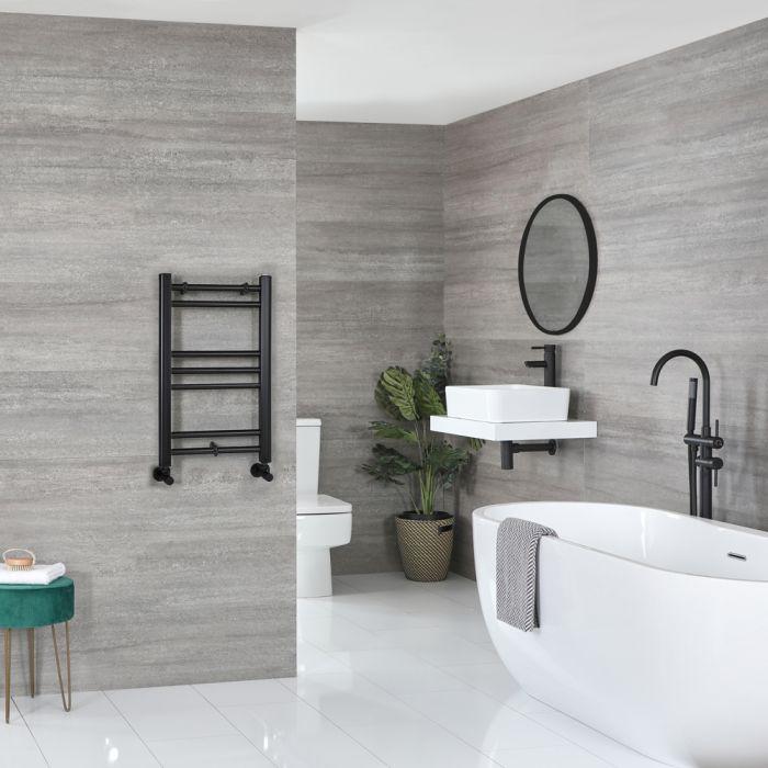 Milano Nero - Matt Black Flat Heated Towel Rail - 600mm x 400mm