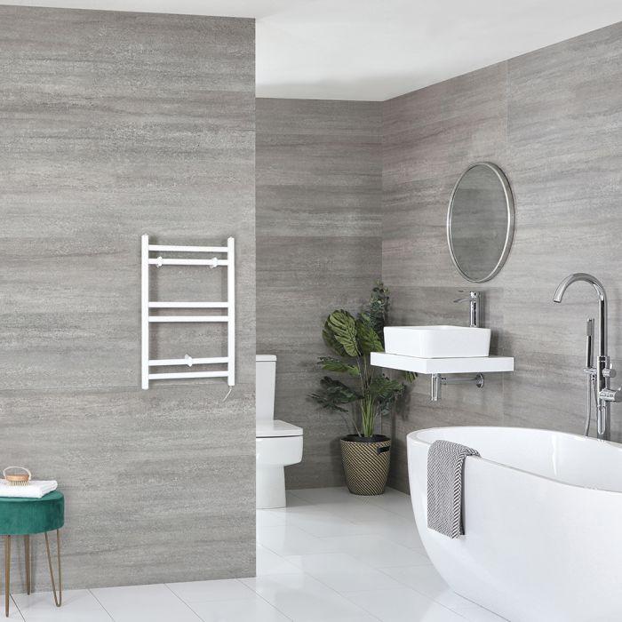 Milano Ive Electric - White Flat Heated Towel Rail - 600mm x 400mm