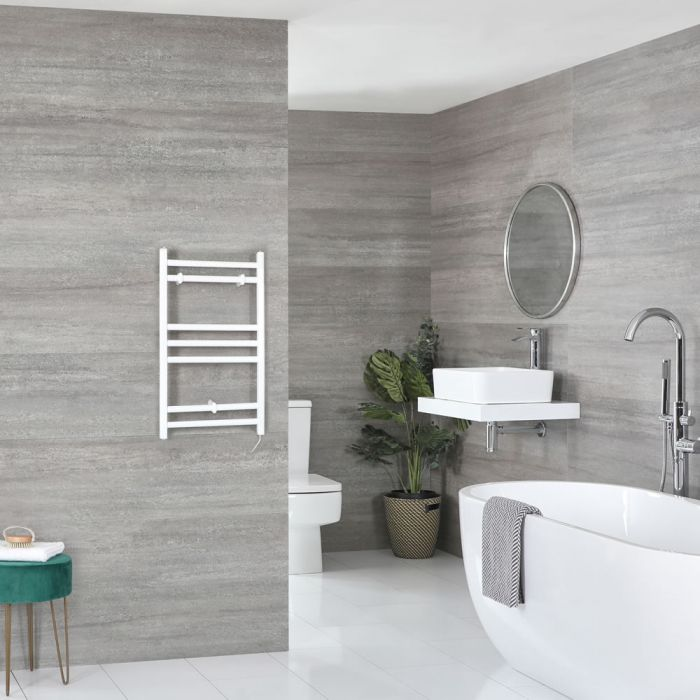 Milano Ive Electric - White Flat Heated Towel Rail - 600mm x 400mm