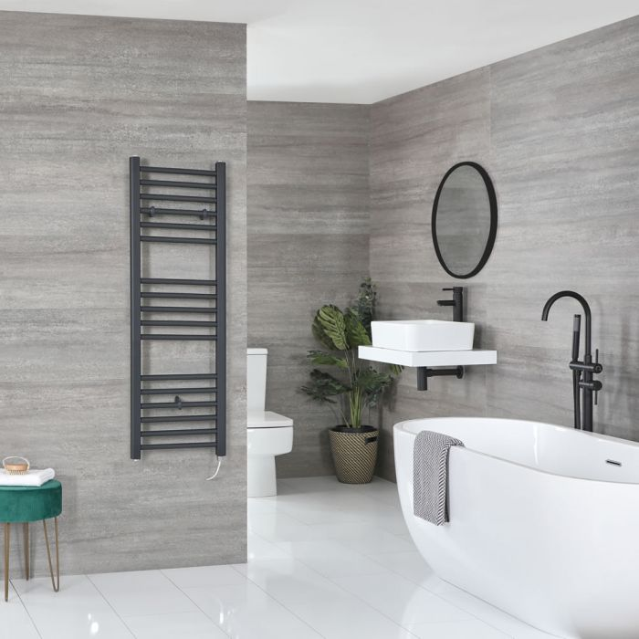 Milano Artle Electric - Anthracite Flat Heated Towel Rail - 1200mm x 400mm