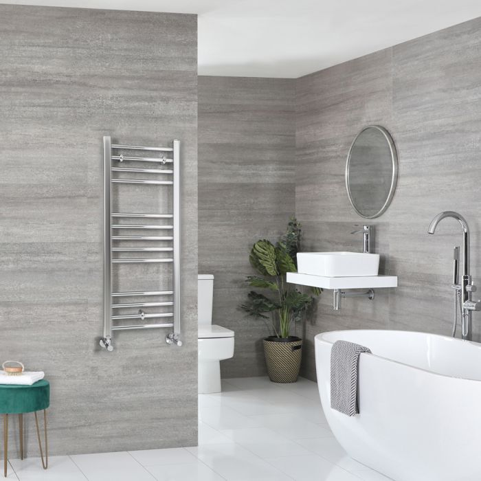 Milano Kent - Chrome Flat Heated Towel Rail - 1000mm x 400mm