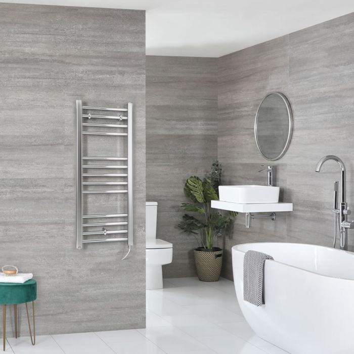 Milano Kent Electric - Chrome Flat Heated Towel Rail - 1000mm x 400mm