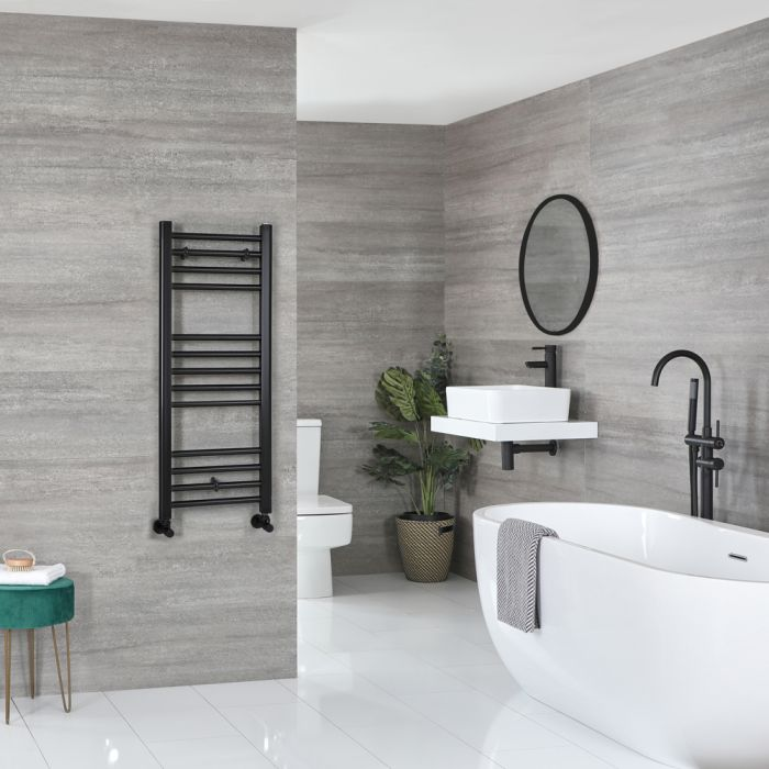 Milano Nero - Matt Black Flat Heated Towel Rail - 1000mm x 400mm