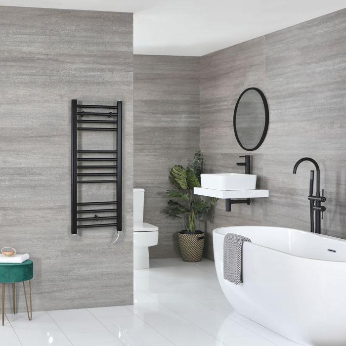 Milano Nero Electric - Black Flat Heated Towel Rail - 1000mm x 400mm
