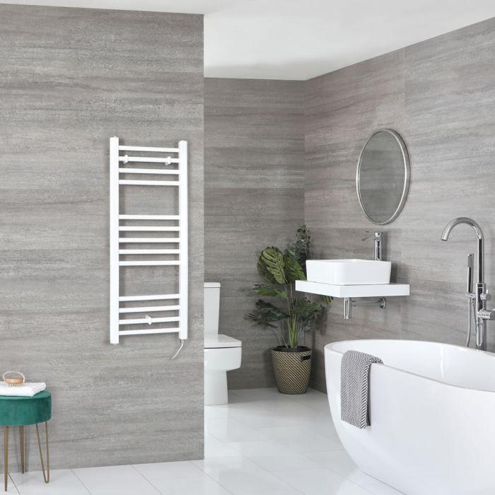 Milano Ive Electric - White Flat Heated Towel Rail - 1000mm x 400mm