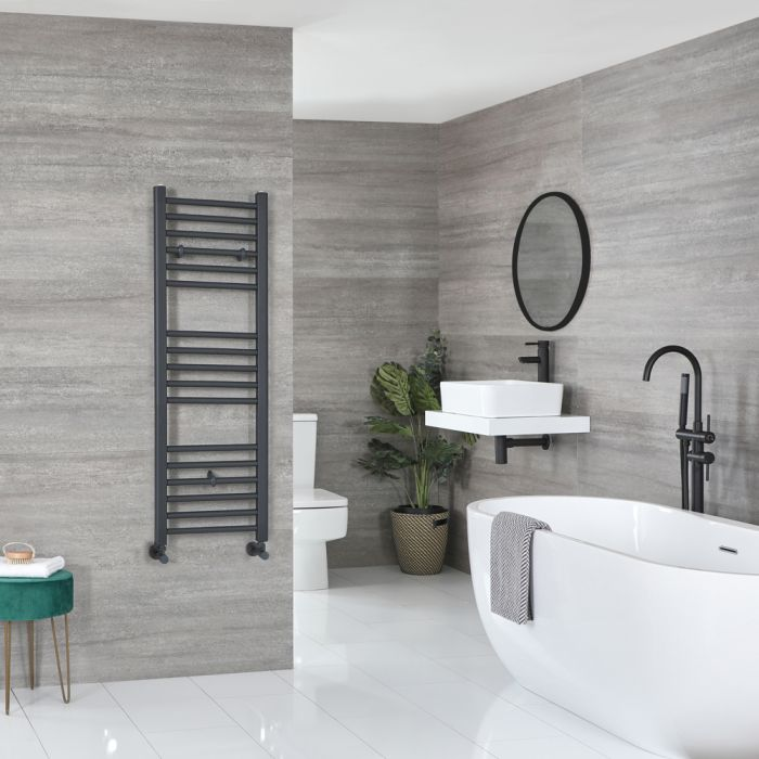 Milano Artle - Anthracite Flat Heated Towel Rail - 1200mm x 400mm