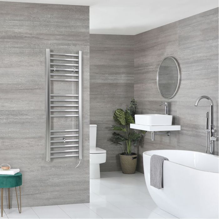 Milano Kent Electric - Chrome Flat Heated Towel Rail - 1200mm x 400mm