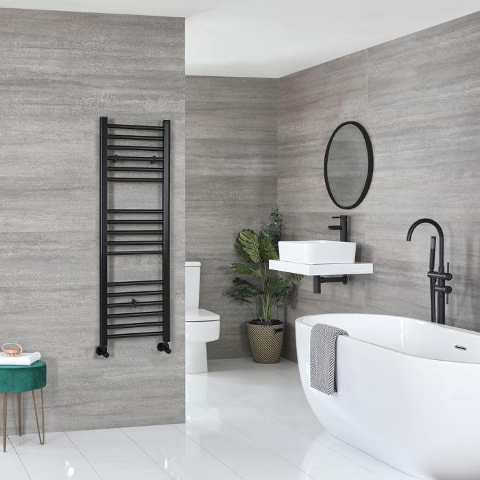 Milano Nero - Matt Black Flat Heated Towel Rail - 1200mm x 400mm
