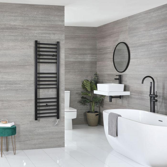 Milano Nero Electric - Black Flat Heated Towel Rail - 1200mm x 400mm