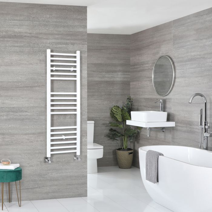 Milano Ive - White Flat Heated Towel Rail - 1200mm x 400mm