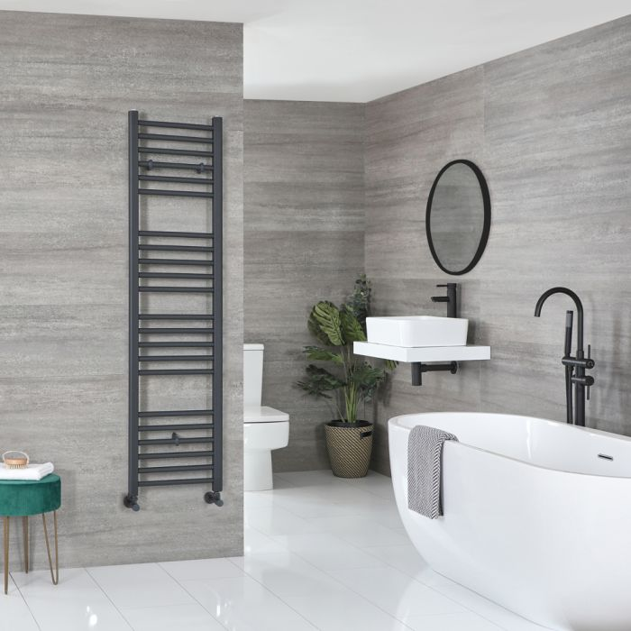 Milano Artle - Anthracite Flat Heated Towel Rail - 1600mm x 400mm