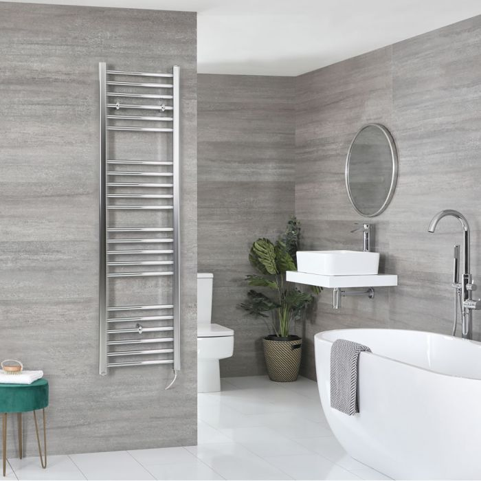 Milano Kent Electric - Chrome Flat Heated Towel Rail - 1600mm x 400mm
