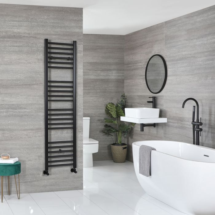 Milano Nero - Matt Black Flat Heated Towel Rail - 1600mm x 400mm