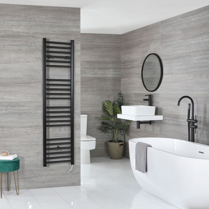Milano Nero Electric - Black Flat Heated Towel Rail - 1600mm x 400mm