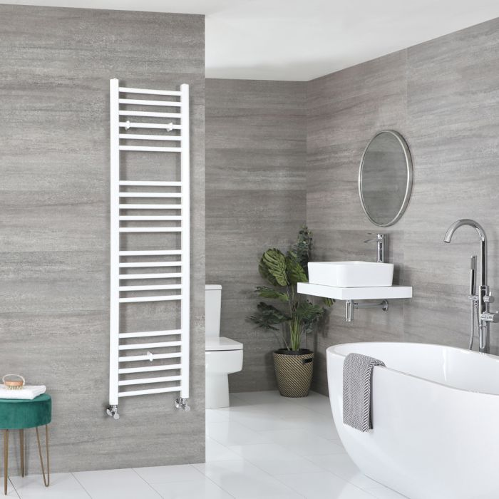 Milano Ive - White Flat Heated Towel Rail - 1600mm x 400mm