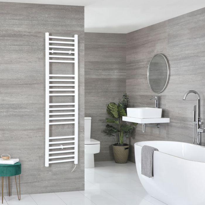 Milano Ive Electric - White Flat Heated Towel Rail - 1600mm x 400mm
