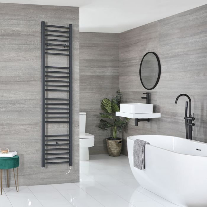 Milano Artle Electric - Anthracite Flat Heated Towel Rail - 1800mm x 400mm