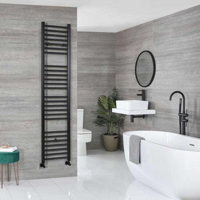 Milano Nero - Matt Black Flat Heated Towel Rail - 1800mm x 400mm