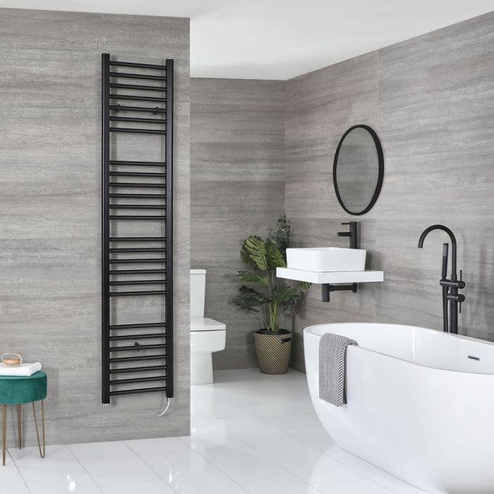 Milano Nero Electric - Black Flat Heated Towel Rail - 1800mm x 400mm