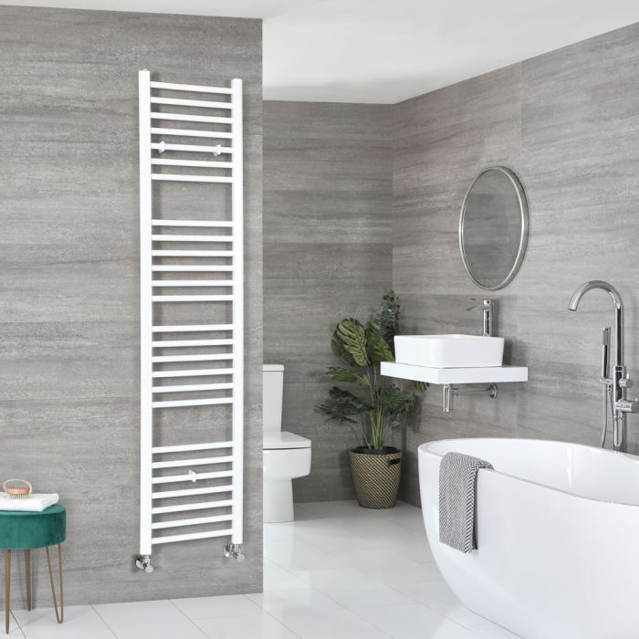 Milano Ive - White Flat Heated Towel Rail - 1800mm x 400mm