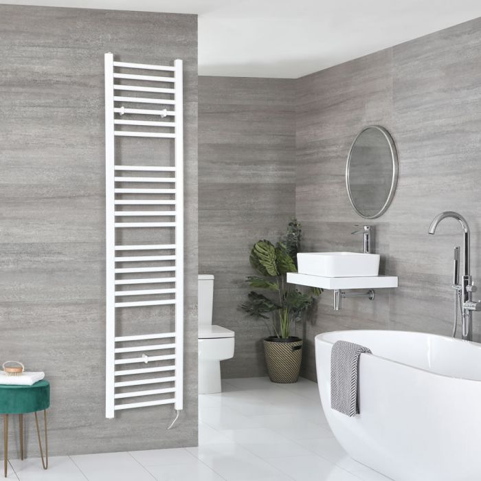 Milano Ive Electric - White Flat Heated Towel Rail - 1800mm x 400mm
