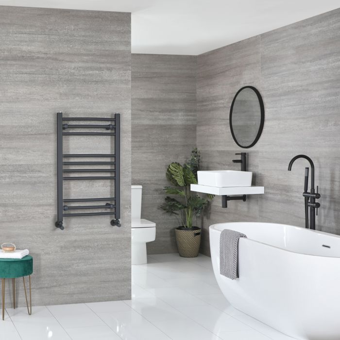 Milano Artle - Anthracite Flat Heated Towel Rail - 800mm x 500mm