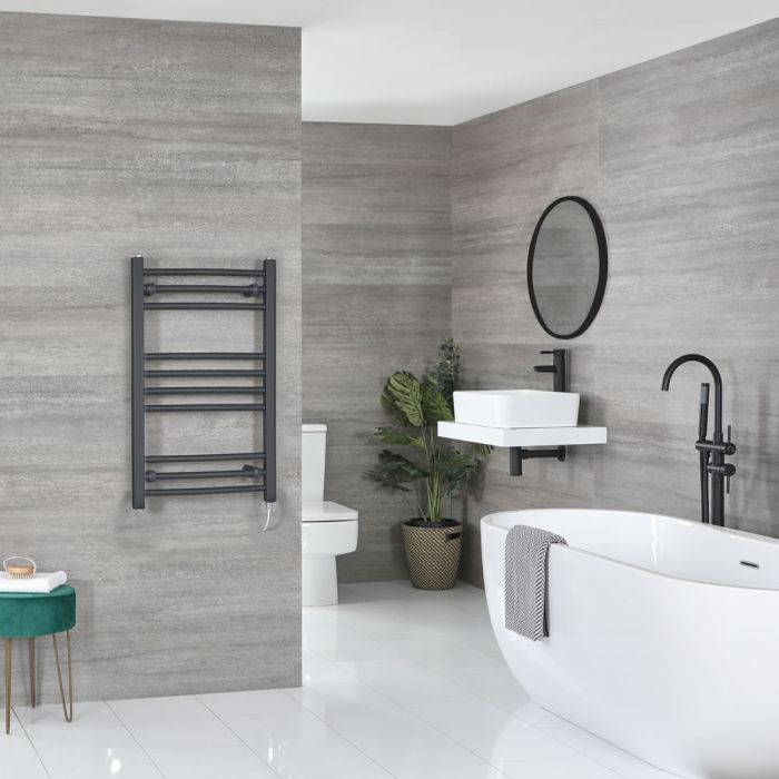 Milano Artle Electric - Anthracite Flat Heated Towel Rail - 800mm x 500mm