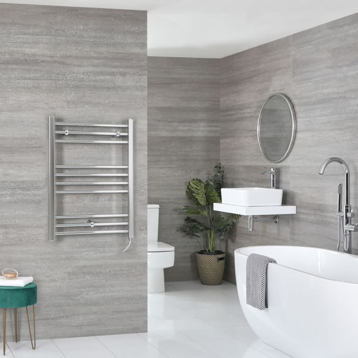 Milano Kent Electric - Chrome Flat Heated Towel Rail - 800mm x 500mm