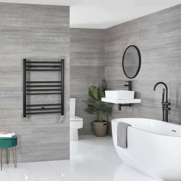 Milano Nero Electric - Black Flat Heated Towel Rail - 800mm x 500mm