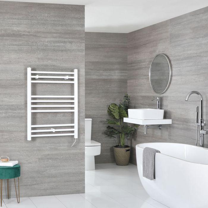 Milano Ive Electric - White Flat Heated Towel Rail - 800mm x 500mm