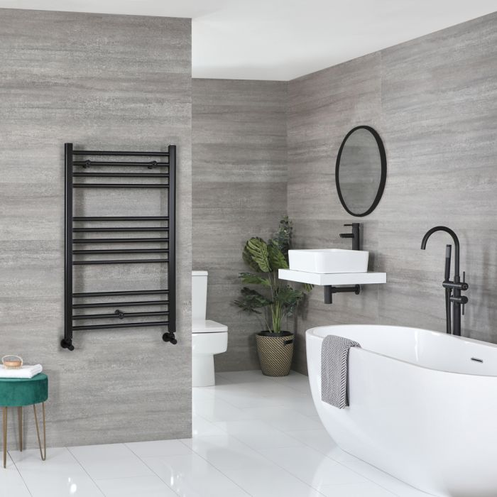 Milano Nero - Matt Black Flat Heated Towel Rail - 1000mm x 500mm