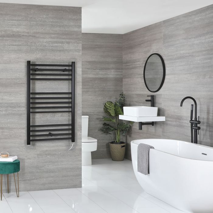 Milano Nero Electric - Black Flat Heated Towel Rail - 1000mm x 500mm