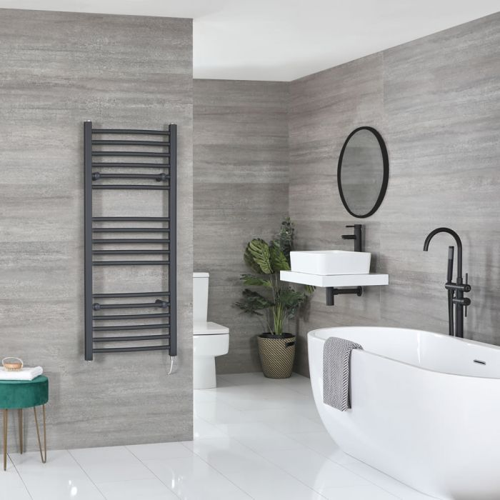 Milano Artle Electric - Anthracite Flat Heated Towel Rail - 1200mm x 500mm