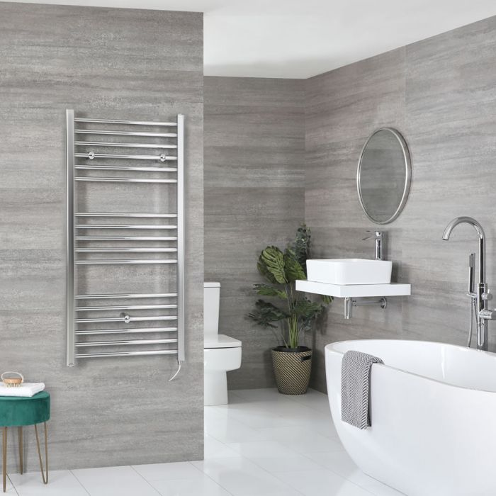 Milano Kent Electric - Chrome Flat Heated Towel Rail - 1200mm x 500mm