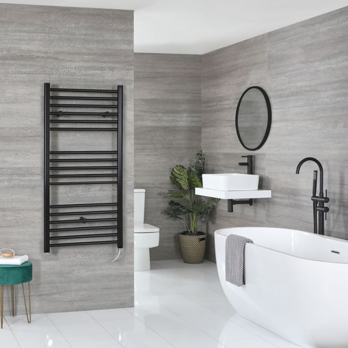 Milano Nero Electric - Black Flat Heated Towel Rail - 1200mm x 500mm