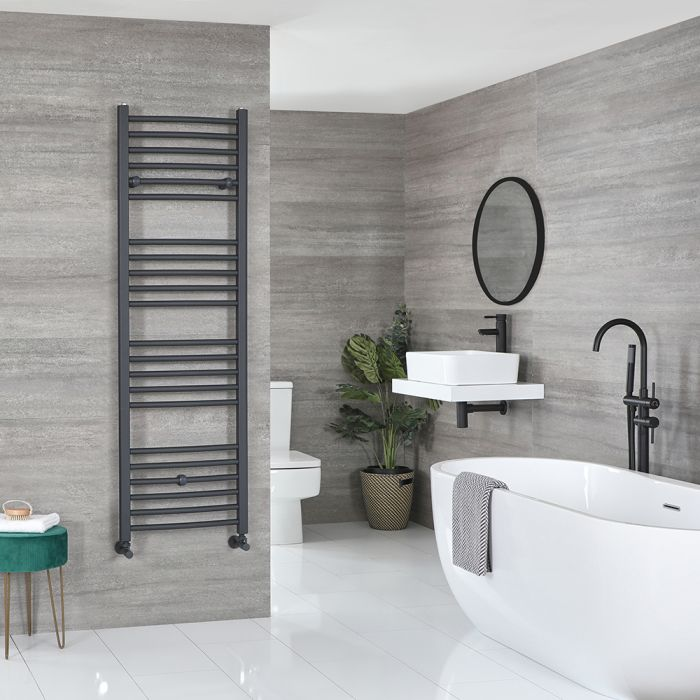 Milano Artle - Anthracite Flat Heated Towel Rail - 1600mm x 500mm