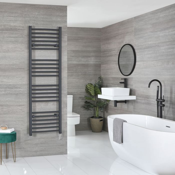 Milano Artle Electric - Anthracite Flat Heated Towel Rail - 1600mm x 500mm