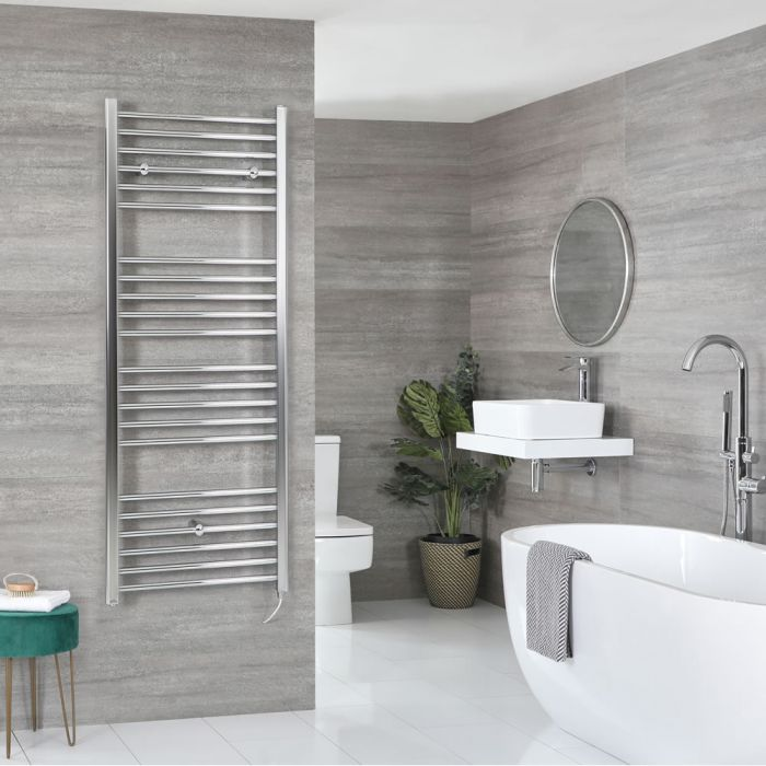Milano Kent Electric - Chrome Flat Heated Towel Rail - 1600mm x 500mm